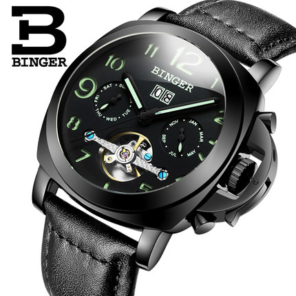 Brand Binger Tourbillon Watch Black Auto Date Automatic Watches Stainless Steel Case Genuine Leather Strap Men Sport Wristwatch