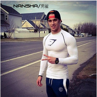 2017 New Men Quick Dry Compression Shirt Tight Sports Wear Fitness Gyms Exercise Bodybuilding Long Sleeve