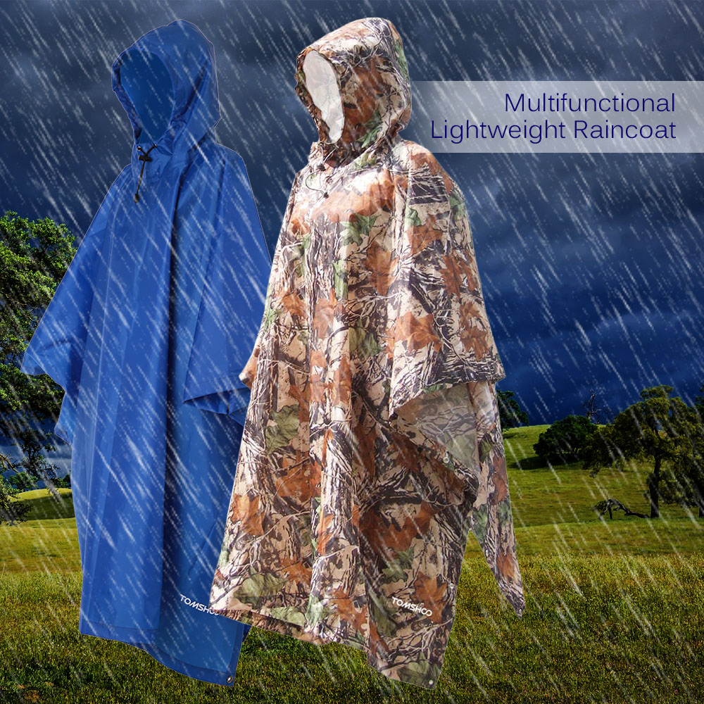 Multi-functional Waterproof Raincoat With Hood Hiking Cycling Rain Cover Rainwear Military Rain Coat Outdoor Camping Tent Mat