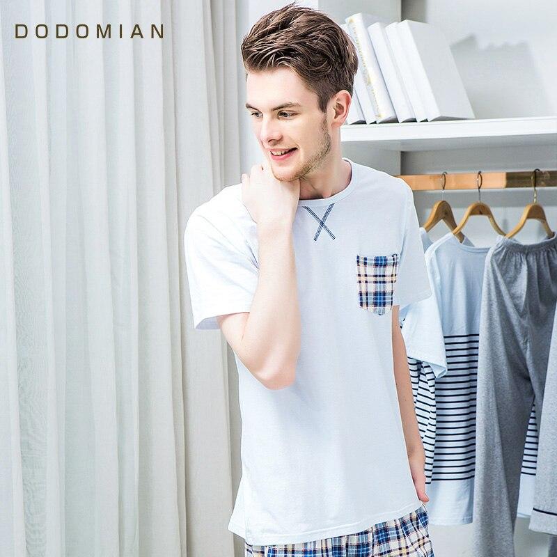 2019 Tracksuit Men Plaid Cotton Homewear Costumes Casual Loose Home 2piece Pajama Sets Short T Shirt+Short  Plus Size L XL XXL