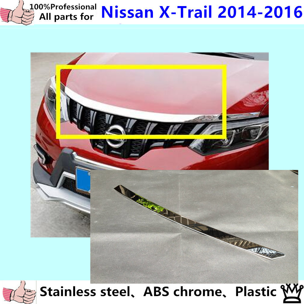 Car garnish ABS Chrome front engine Machine grille upper hood stick lid trim lamp for Nissan X-trail(xtrail)2014 2015 2016