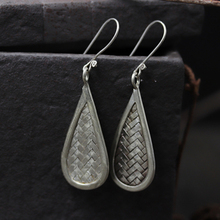 JINSE  Braided Bohemia Water Drop Dangle Earrings For 925 Sterling Silver Handmade Ethnic Jewelry