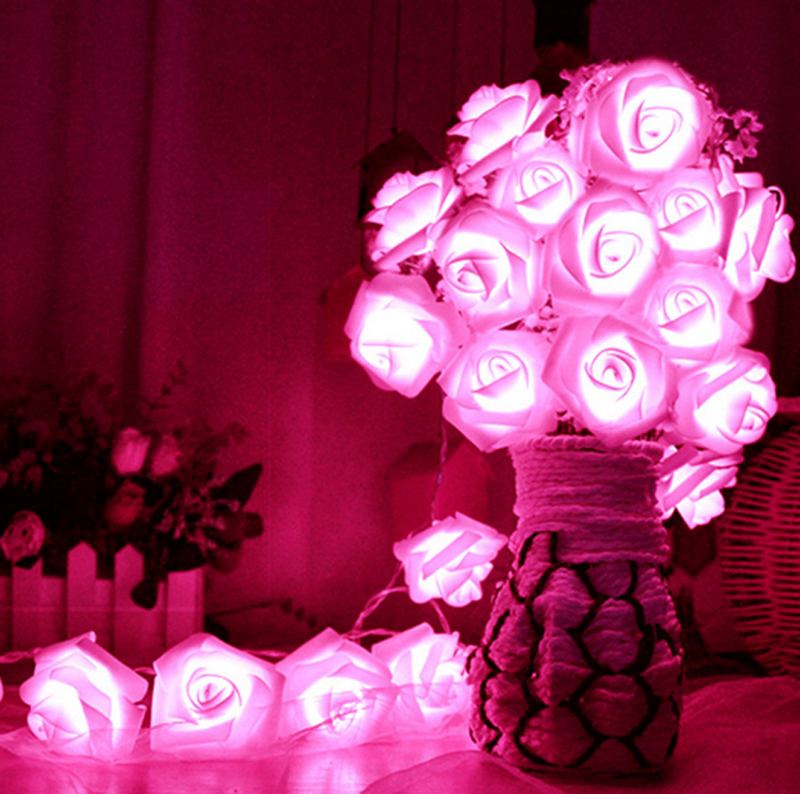 Us 4 83 Romantic 20 Led Lighting Rose Flower String Fairy Lights Home Bedroom Garden Decor Wedding Party Decoration Artificial Plants In Artificial