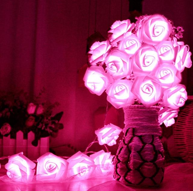 Romantic 20 led lighting rose flower string fairy lights home romantic 20 led lighting rose flower string fairy lights home bedroom garden decor wedding party decoration mightylinksfo