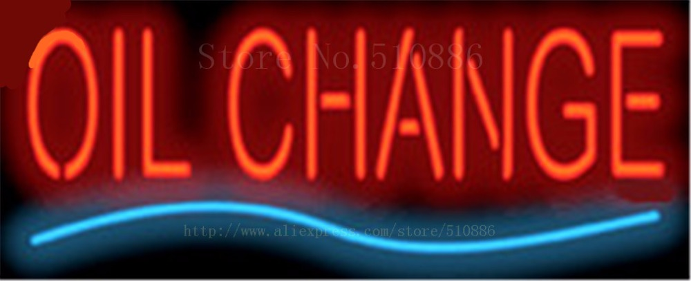 """Oil Change Repair Car Auto <font><b>Glass</b></font> Tube neon sign Handcrafted Automotive signs Shop Store Business signage 17\""""x14\"""""""