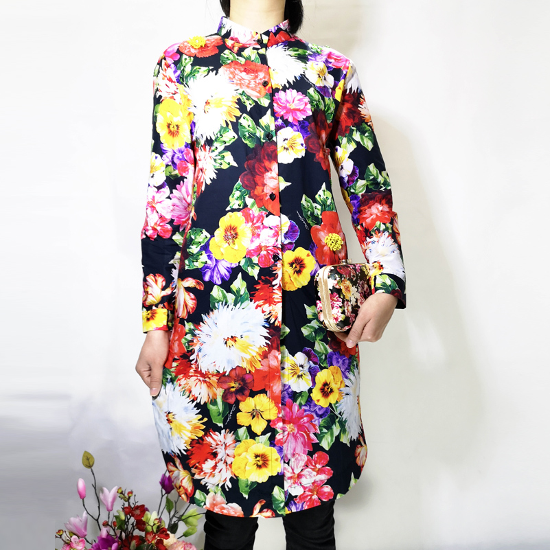 High quality designer Blusas mujer de moda Women s Long Sleeve Flower Print Sequins Beading Luxury