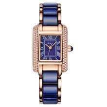 Kimio mujeres reloj de cuarzo de moda cuadrado azul brazalete de diamantes relojes de marca de imitación cerámica estudiante impermeable reloj de pulsera
