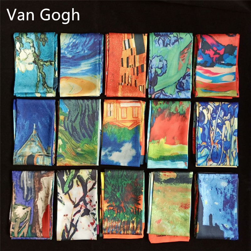 Van Gogh Oil Painting Twill Silk   Scarf   Women Neckerchief Skinny   Scarf   Bag Ribbons Female Neck Tie Head   Scarves     Wraps   For Ladies