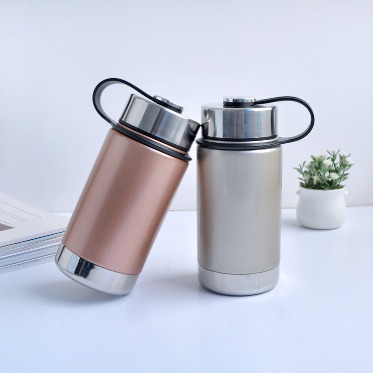 350ml Fashion Big mouth insulation bottle stainless steel thermos Creative Vacuum Flasks with handle kettle Free shipping