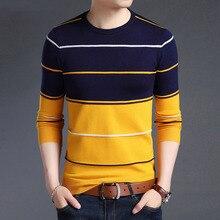 סרוג גדול גודל 5XL O צוואר פסים טלאים גברים של סוודר Slim עסקים בית ארוך שרוול סוודרים מקרית 2020 סתיו חורף