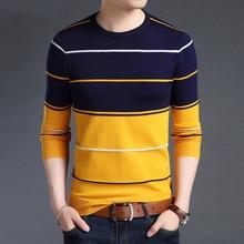Вязаный Мужской свитер большого размера 5XL с круглым вырезом в полоску, в стиле пэчворк, Тонкий Повседневный свитер с длинным рукавом для бизнеса и дома, Осень зима 2020