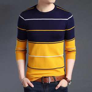 Image 1 - Knitted Large Size 5XL O neck Striped Patchwork Mens Sweater Slim Business Home Long Sleeve Casual Sweaters 2020 Autumn Winter