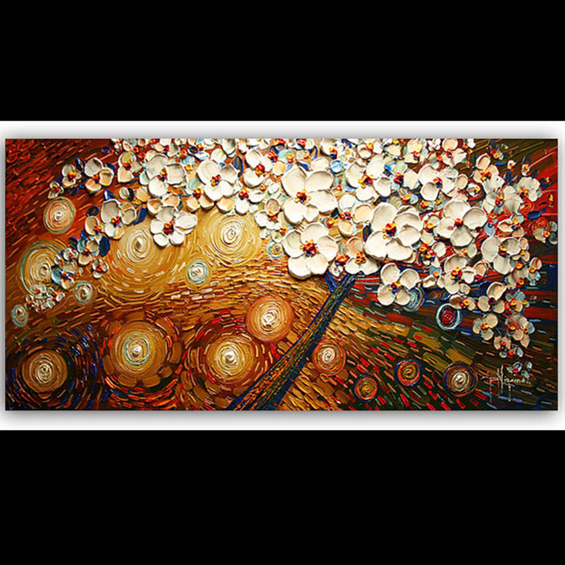 hand painted landscape high quality palette knife cherry tree