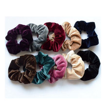 2Pcs Women's Winter Velvet Hair Scrunchies Hair Tie Ladies Solid Leopard Ponytail Holder Hair Rubber Headband Hair Accessories(China)