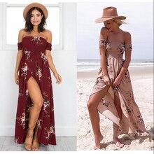 Estilo largo dress mujeres del hombro beach verano de boho vestidos de estampado floral vintage de gasa blanco maxi dress vestidos de fiesta