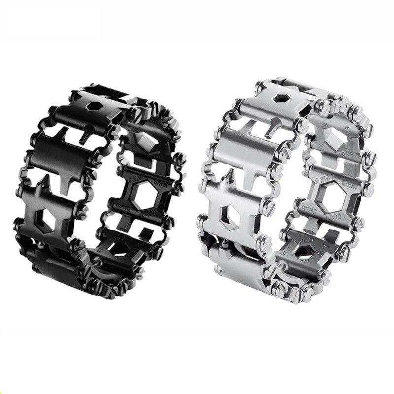 100% acier inoxydable multifonction Bracelet Punk 29 en 1 Bracelet tournevis décapsuleur extérieur survie outils d'urgence