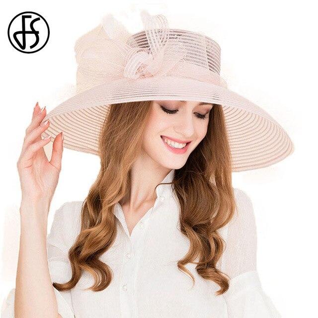 Visualizzza di più. FS 100% Organza Cappello A Tesa Larga Bowknot Fiori Da  Sposa Delle Signore Cappelli Per 7fca324b53ce