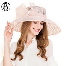 923cc3d8d25 FS Women 100% Organza Hat Large Brim Bowknot Decoration Flowers 2017  Elegant Ladies Wedding Dress Derby Floppy Hats