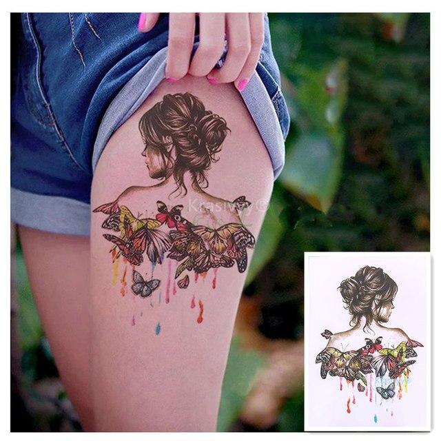 ecd428a5c 2018 NEW Fashion body art butterfly girl 21 X 15 CM Sexy Cool Beauty Tattoo  Waterproof Hot sale Temporary Tattoo girls Stickers