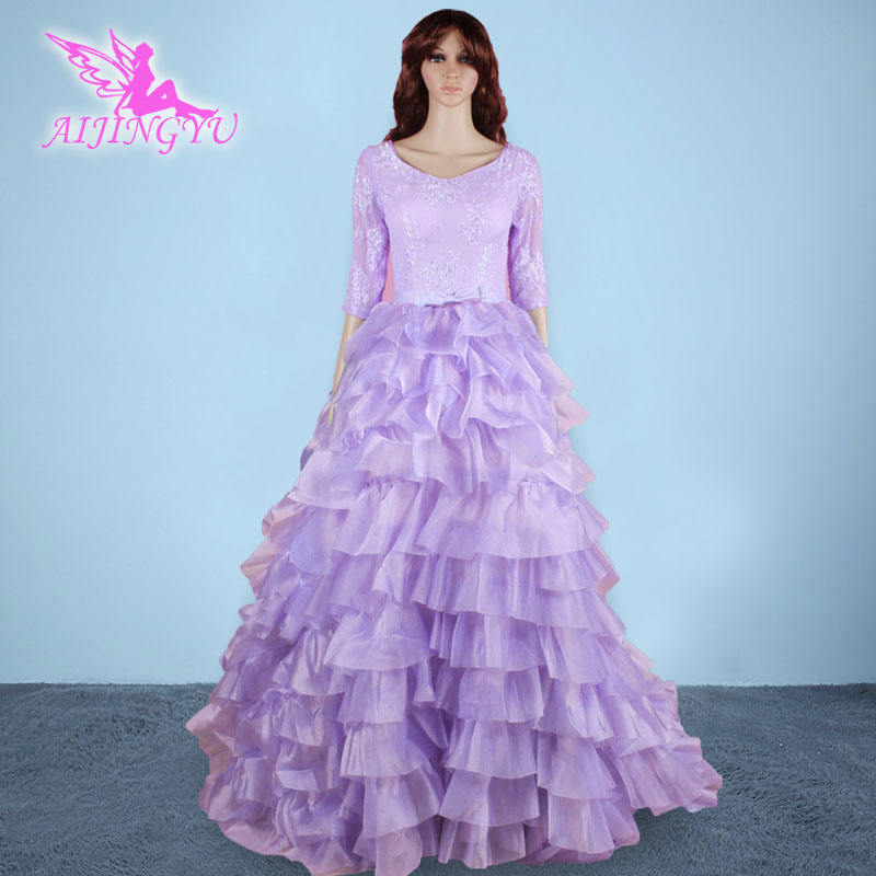 AIJINGYU 2018 nuevo envío libre púrpura encaje vestidos de novia ...