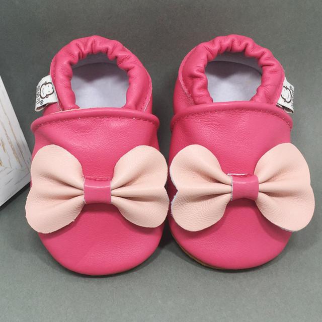 New Arrival Baby Genuine Leather Moccasins Sweet Pink Baby First Walkers Silky Sheepskin Baby Shoes Handmade Toddlers Prewalker