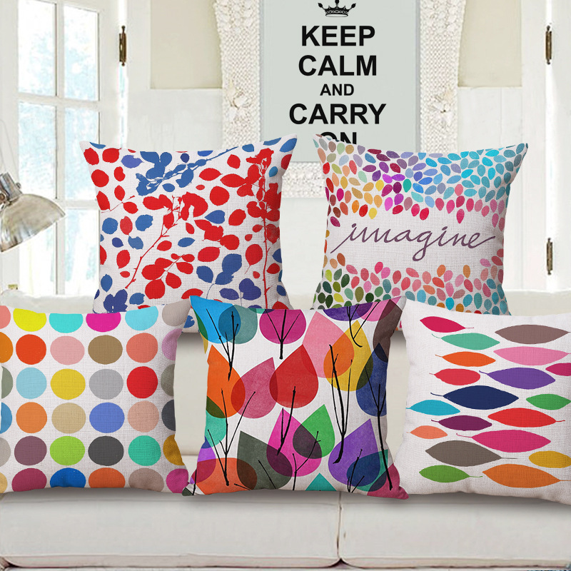 Fashion High Quality Cotton Linen Cartoon Coloful Leaf Decorative Throw Pillow Case Cush ...