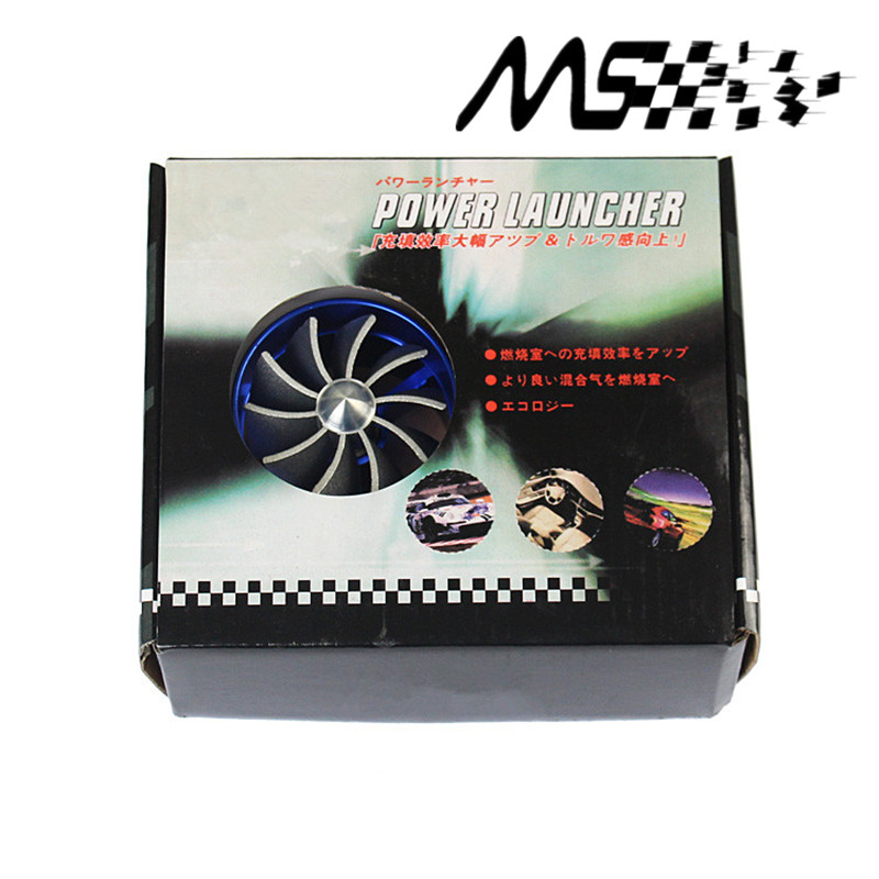 Blue Universal Car Fuel Gas Saver Supercharger For Turbine Turbo Charger  Air Intake Fan Turbocharger