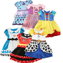 31f7174c6fd6d 2018 Enfants de Partie Robe Fille Vêtements Minnie Neige Blanc Princesse  Sofia Alice Halloween Carnaval Costume