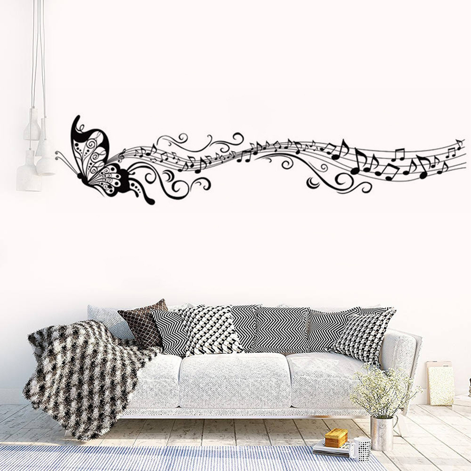 Large Music Notes Wall Decal Removable Butterfly Wall Stickers