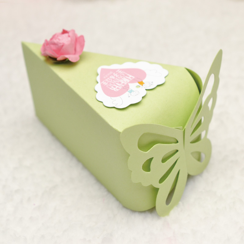 100pcs (10 cakes) Green butterfly Cake Candy Boxes with Flower Cards ...