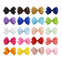 цена на 20Pcs/lot Polyester Hair Accessories Lovely Girls Bow Tie Wrapped Grosgrain Ribbon Lined Alligator clip Children Hairpins 128