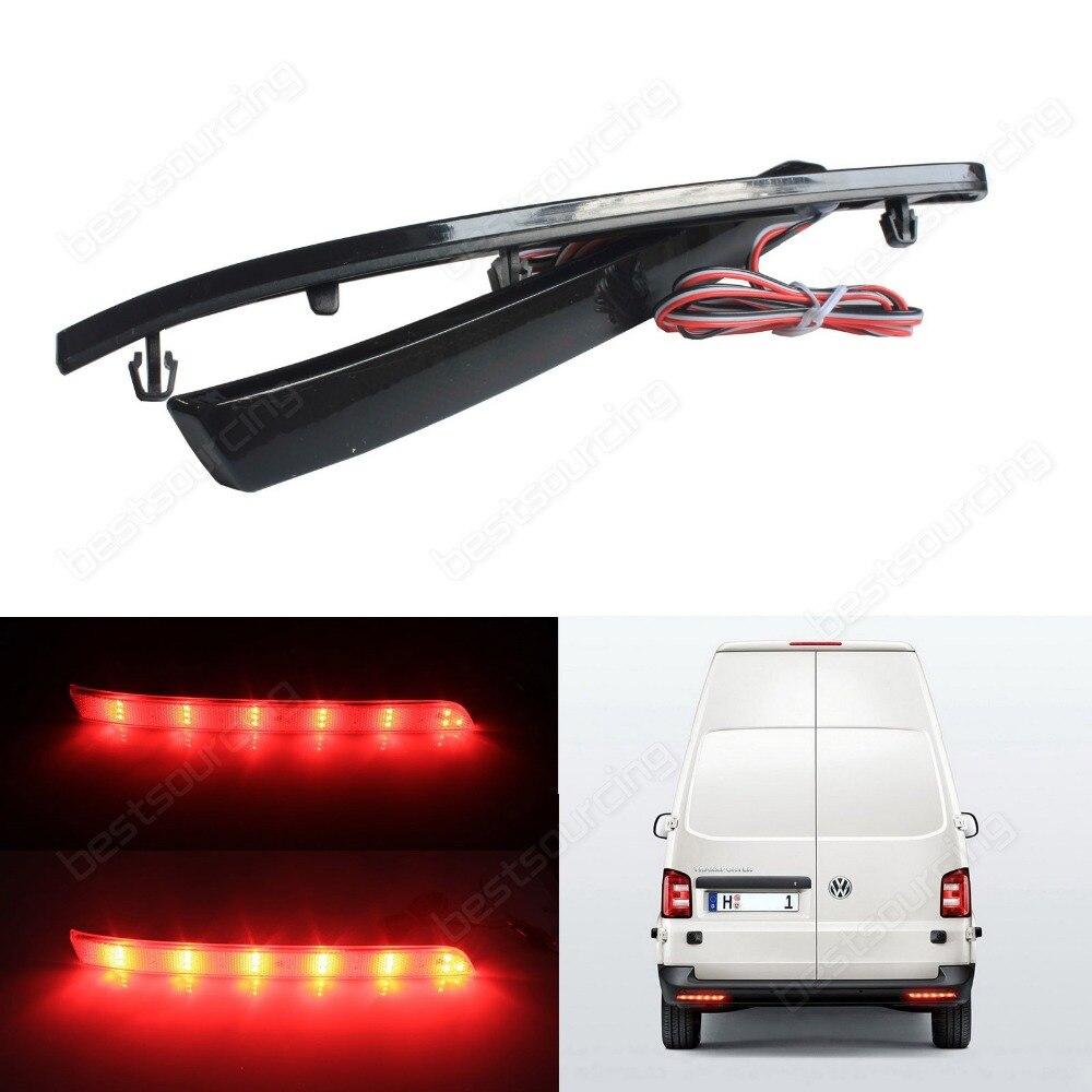 For VW Transporter T5 Multivan Black Rear Bumper Reflector LED Tail Brake Light 12+ (Fits: VW 2012)(CA331)