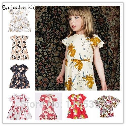 BABY GIRL CLOTHES DRESS FOR GIRLS unicorn  brand  vestidos bobo choses girls summer dressese girls clothing flower dress girl