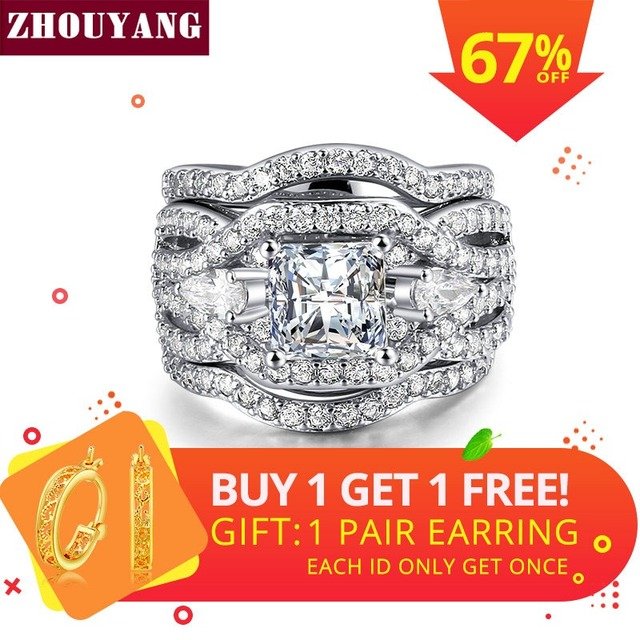 ZHOUYANG Wedding Ring Set For Women Classic Princess Cut Cubic Zirconia 3 Rings
