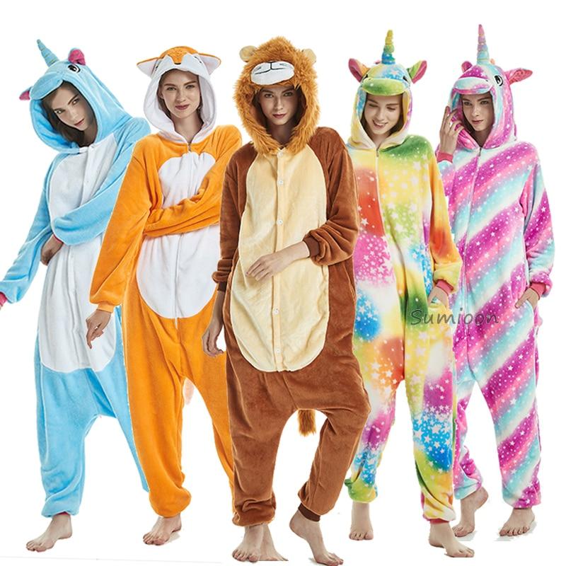 2019 Unicorn Pajamas onesie Women Kigurumi Panda Winter Flannel Pajama Kigurumi Adult Animal Stitch unicornio Sleepwear Overalls(China)