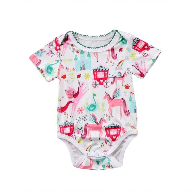 7b5551ddea00 2018 Fancy Cartoon Unicorn Romper Newborn Baby Girls Summer Playsuit Top Jumpsuit  Outfits