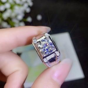 Image 2 - モアッサナイト男性のリング、 925 シルバー、美しい Firecolour 、ダイヤモンド代替