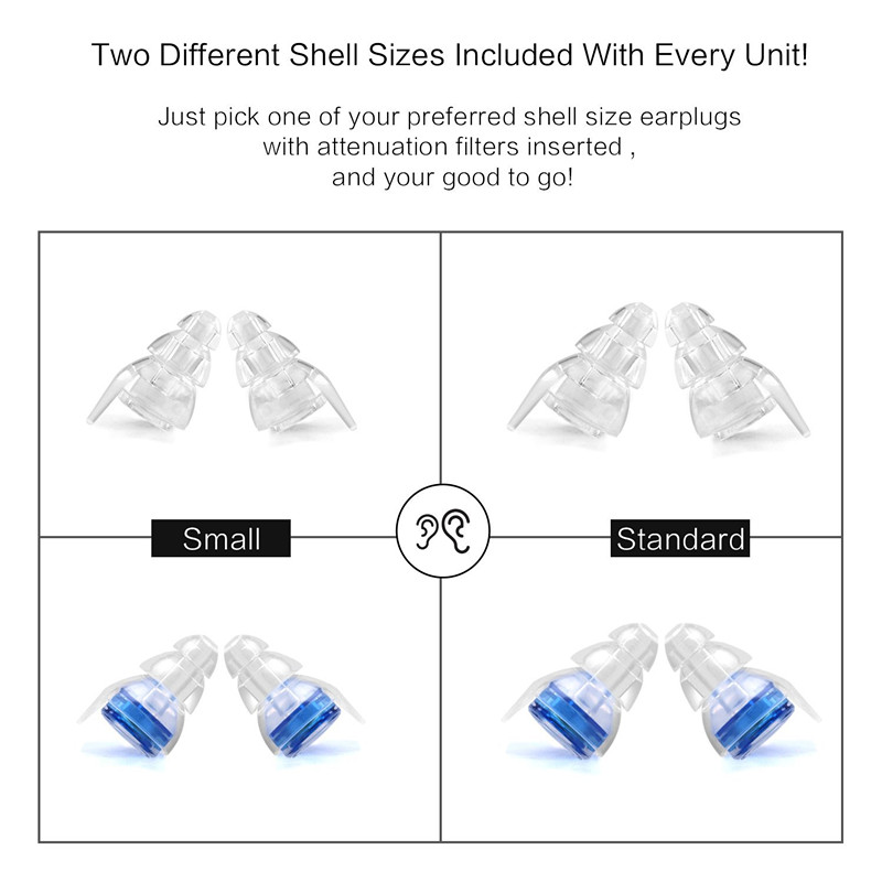 2 Pair High Fidelity Concert Earplug Silicone Ear plug Noise Reduction Musician Hearing Protection earbud for Motorcycle Drummer in Ear Protector from Security Protection