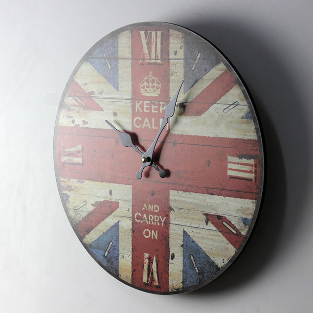 "ZAKKA London Style the Union Flag Colored Drawing""KEEP CALM""Wooden Wall Clock Home Decor Round Wall Hanging Clock for Livingroom"