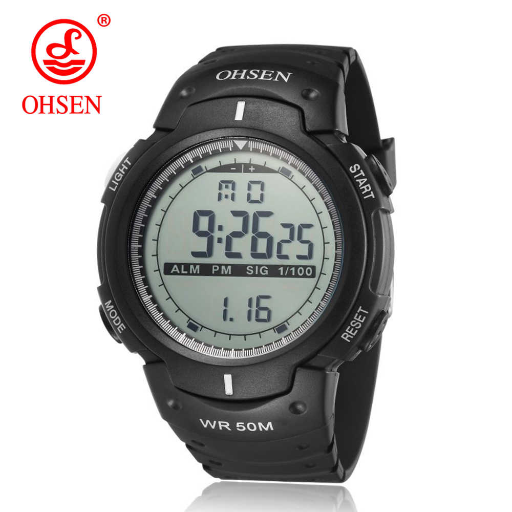 OHSEN Digital Watches Men Sports 50M Professional Waterproof Quartz Large Dial Hours Military Luminous Wristwatches 2019 Fashion
