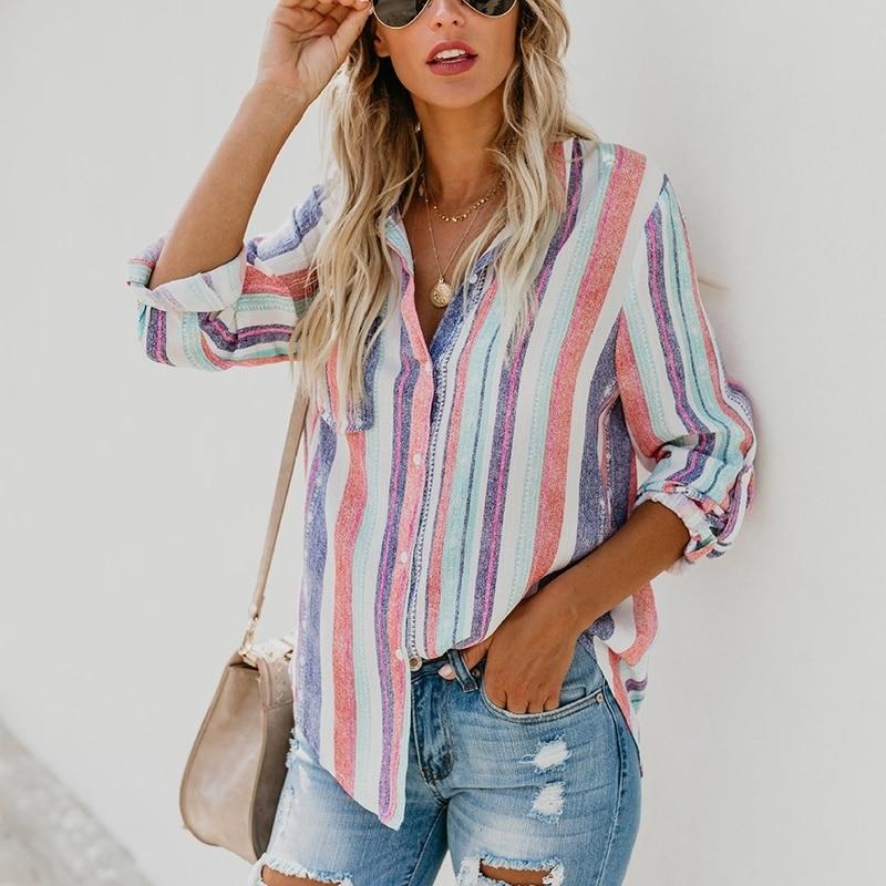 American Fashion Color Stripes Large Women Blouse Ladies Autumn New European Fashion cute Female Womens Top Shirt