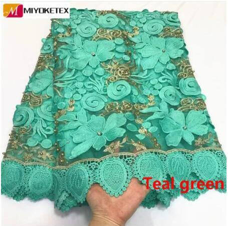Nigerian Lace Latest Bridal Wedding Dress 2019 High Quality Guipure Lace Teal Green African Rhinestones Laces Fabric  ZQ17-1