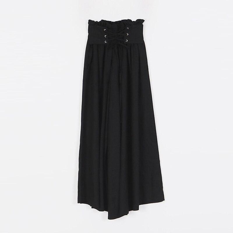 Ancha Sólido Cintura Tobillo longitud Mujeres Pierna Elegante Para Alta Moda Pantalones Rugod De green Verano Con Beige Cómodo Las 2018 Cinturón I8nAqqa7