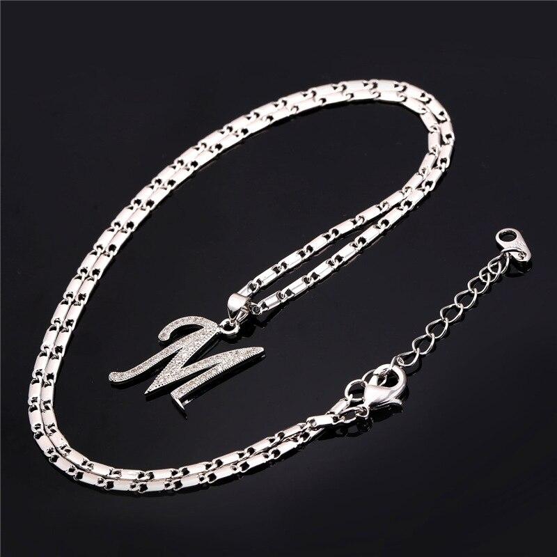 U7 Capital Initial M Letter Naszyjnik Dla kobiet Srebrny / Złoty - Modna biżuteria - Zdjęcie 6