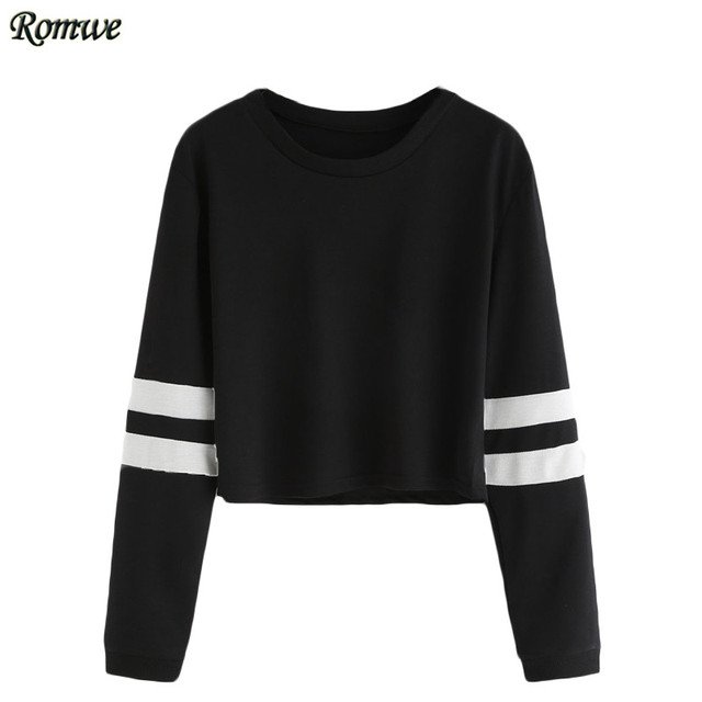 ROMWE T camisa de Las Mujeres 2016 Señoras Ocasionales de la Ropa de Otoño Camisetas Varsity de Cuello Redondo A Rayas de Manga Larga Crop Camiseta