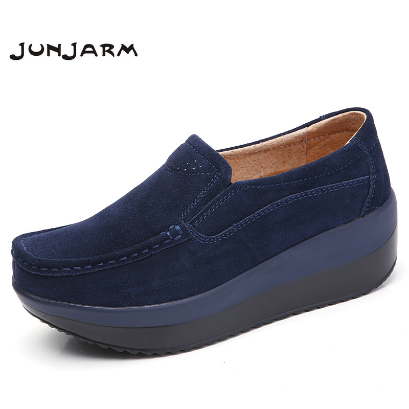 JUNJARM 2017 Women Flats Platform Loafers Shoes Ladies Suede Leather Hollow Casual Shoes Slip On Flats Moccasins Creepers fine zero spring women casual suede genuine leather platform flats tassel wedge slip on ladies creepers shoes red fur winter