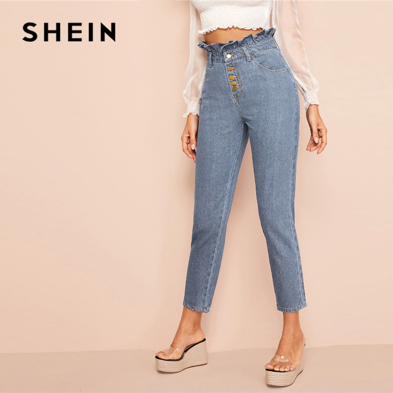 SHEIN Light Wash Button Fly Paperbag Waist Skinny Jeans Woman Spring Summer Casual High Waist Jeans Blue Denim Ladies Pants