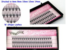 Free shipping 1pcs/lot  6-14mm long cluster individual false eyelash flare 60 strands knot soft synthetic false lashes extension