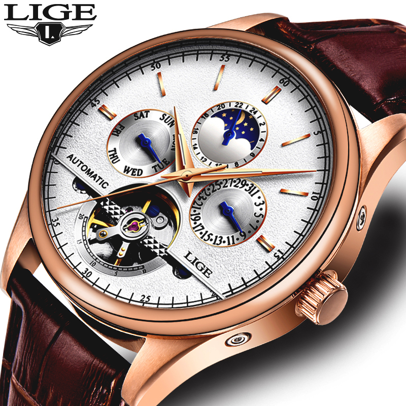 LIGE Mens Watches Top Brand Luxury Mens Military Sport Mechanical Watch Automatic Turntable Waterproof Watch moon Phase ClockLIGE Mens Watches Top Brand Luxury Mens Military Sport Mechanical Watch Automatic Turntable Waterproof Watch moon Phase Clock