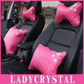 Ladycrystal Rose Pink Car Headrest Neck Hold Pillow High Quality PU Leather Daisy Seat Supports Car Pillows